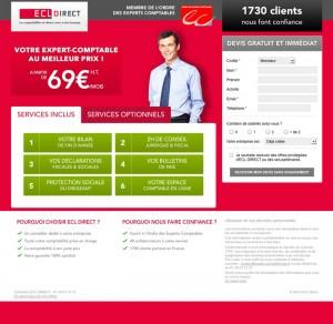 Landing page de l'expert-comptable ECL Direct