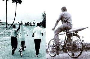 Exemple : la 1ere fusée lancée en 1963 en Inde dont les pièces ont été transportées à vélo !