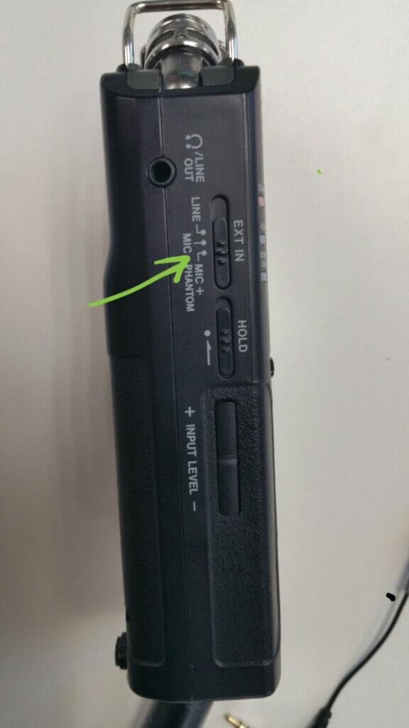 Mettre en mode MIC + Phantom sur la gauche du Tascam DR40