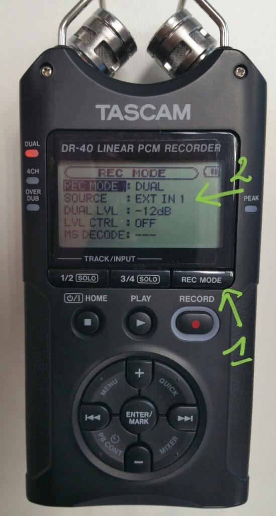 Configuration de la source audio dans le Tascam DR40 pour prendre le son du micro externe